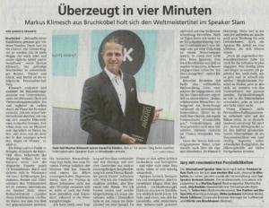 Markus Klimesch gewinnt internationalen Speaker-Slam